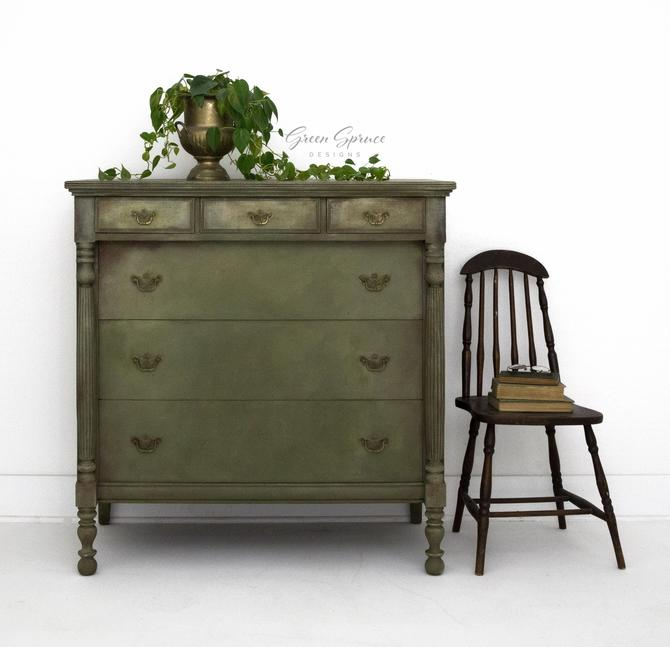Hand Painted Six Drawer Antique Dresser, Sage Green Vintage Bureau, Olive Green Tall Chest of Drawers, Farmhouse Bedroom Furniture by GreenSpruceDesigns