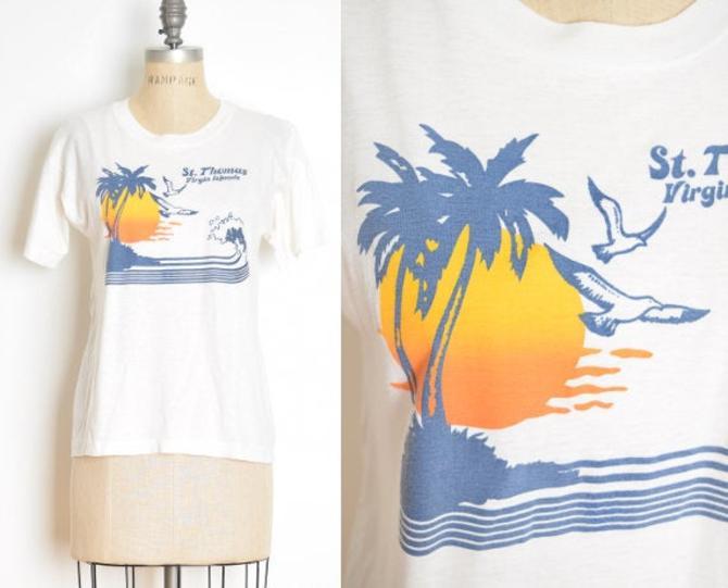 vintage 70s tee Virgin Islands print soft thin single stitch t-shirt top white S M clothing by huncamuncavintage