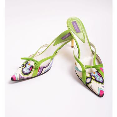 Vintage Emilio Pucci Abstract Print Satin Kitten Heel Mules with Gold Heels + Lime Green Leather Bows sz 39 8.5 9 Y2K by backroomclothing