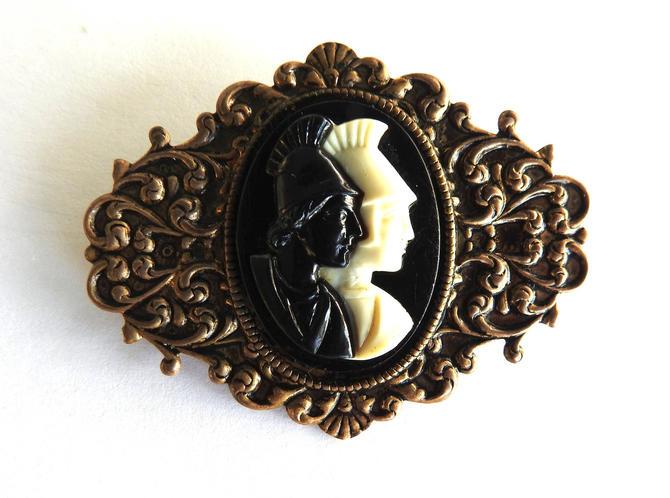 1950s Plastic on Brass Warrior Head Brooch or Pocket Pin by LegendaryBeast