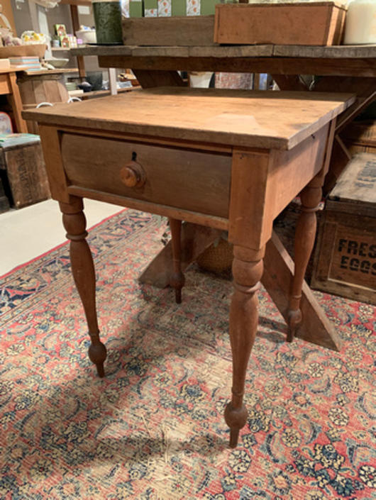 """Antique table with drawer, 22.25"""" w x 20.75"""" d x 30.5"""" t, $145."""