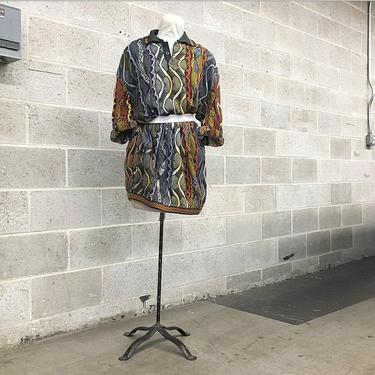 Vintage Coogi Sweater Retro 1980s Unisex Size 3XL Oversized Printed Top or Dress with Long Sleeves + Button Neck + Collar Australian Made by RetrospectVintage215