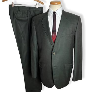 Vintage 1960s Custom/Bespoke 2pc SHARKSKIN Suit ~ size 40 R ~ Jacket / Pants ~ Rockabilly / Mod ~ Preppy / Ivy Style / Trad ~ by SparrowsAndWolves