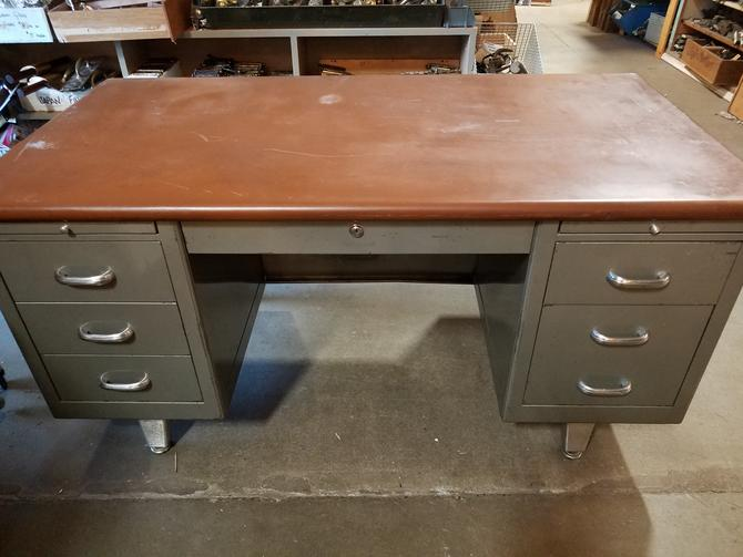 Vintage Tanker Desk with Leather Top 29x59x31