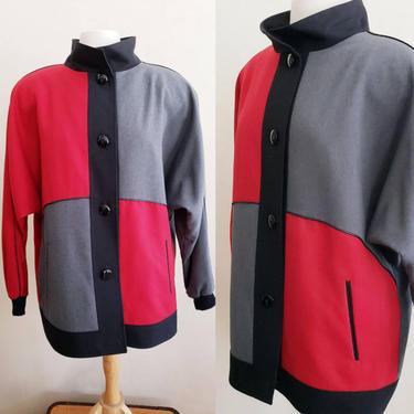 1980s Vintage Jacket Red Black Gray Colorblock Geometric Squares / 80s Button Down Wool Blend Jacket Joyce / XL by RareJuleVintage
