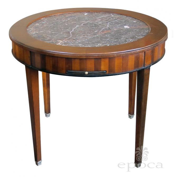 a good quality french de Bournay cherry and walnut parquetry game/lamp/center table with inset marble top