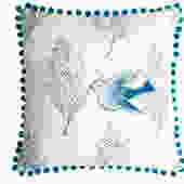 Ombre Blue Dove Pillow on Oatmeal Linen
