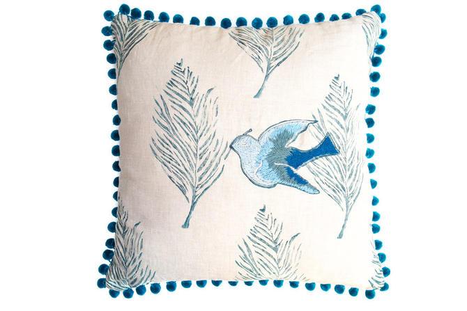 Ombre Blue Dove Pillow on Oatmeal Linen