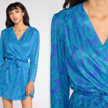80s Wrap Dress Blue Paisley Mini Dress Print Boho PUFF SLEEVE Dress Vintage Long sleeve 1980s High Waisted Bohemian Large L by ShopExile
