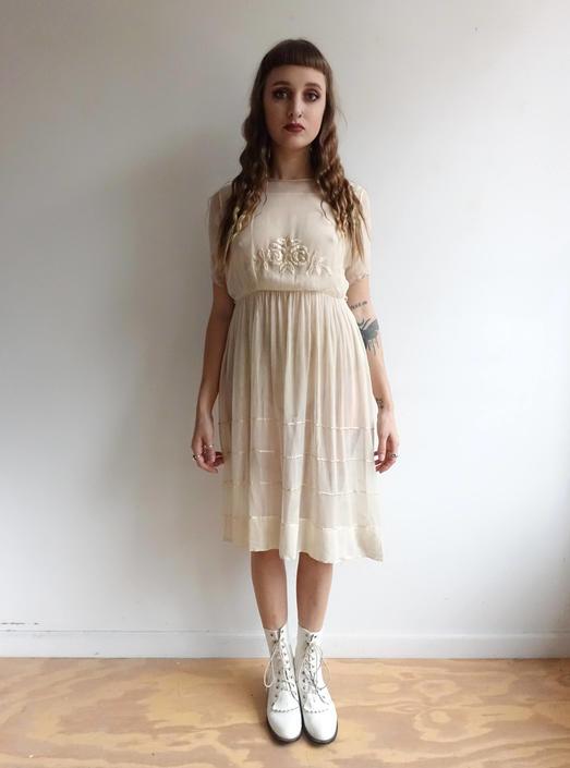 e2639505cb 1910s 20s Tissue Silk Embroidered Dress  Ivory Wedding Dress  1920s ...