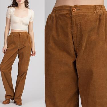 70s Brown Corduroy High Waist Pants - Medium | Vintage Levi's Straight Leg Retro Trousers by FlyingAppleVintage