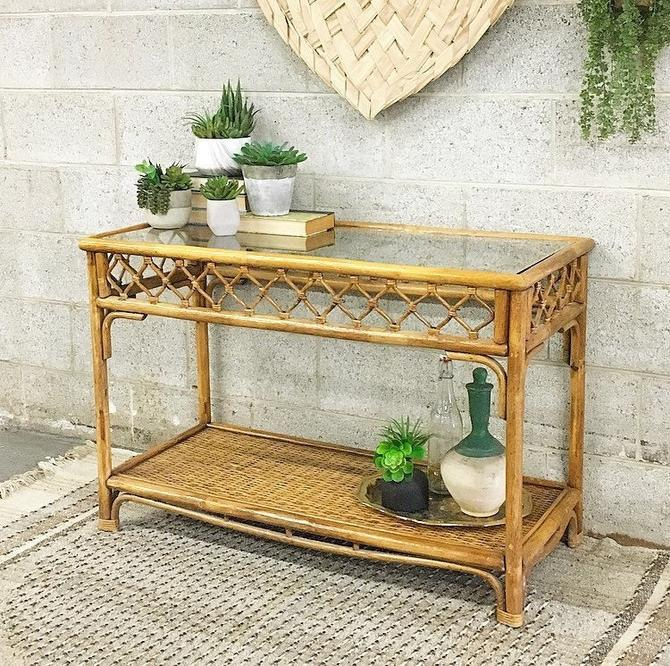 LOCAL PICKUP ONLY ------------- Vintage Rattan Table by RetrospectVintage215