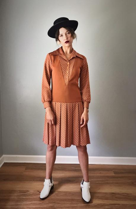 Vintage 60s Toffee Polka Dot Dress w/ Pleats by SpeakVintageDC