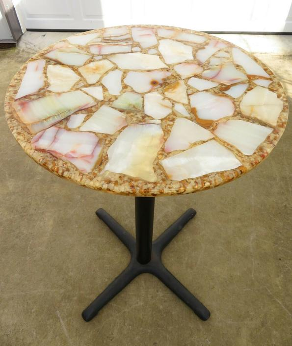 Vtg ARTURO PANI SLICED AGATE GEODE TOP; PUB or BAR TABLE Plant Stand MID CENTURY