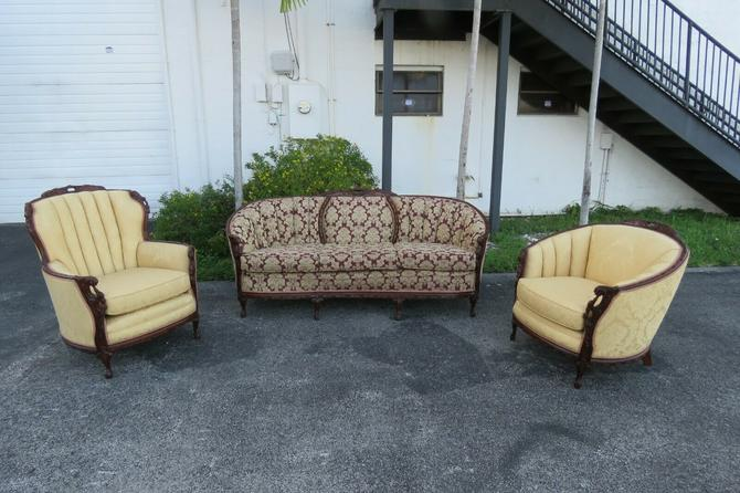 French Heavy Carved 3 piece Set of Long Sofa Couch His and Her Chairs 1648 X