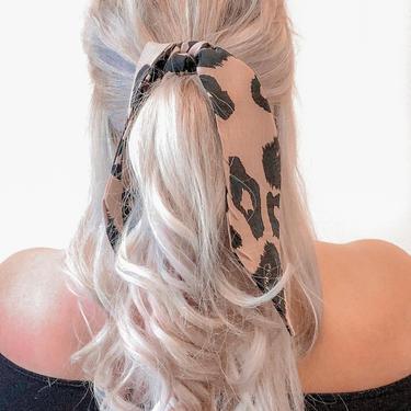 Leopard Print Hair Ribbon / Neck Scarf  -  Beige / Cheetah Animal Print / Ponytail holder / hair tie  /  Adult Woman's Girls by IrisAtelierCouture