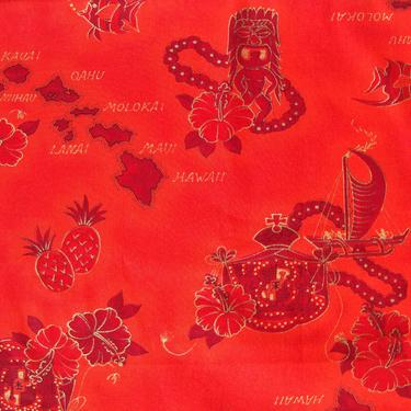 Vintage Hawaiian Fabric Red Tiki Polynesian Novelty Print 3 Yds by MetroRetroVintage