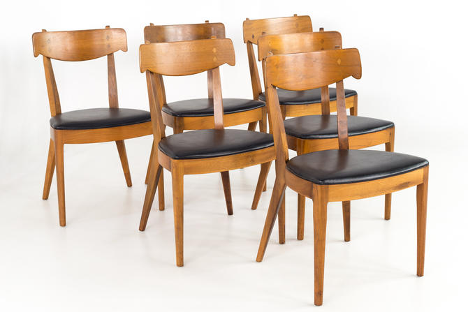Italian Style Kipp Stewart for Drexel Declarations Mid Century Walnut Dining Chairs - Set of 6 - mcm by ModernHill