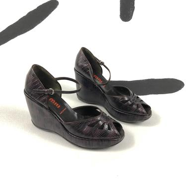 90s Miu Miu Purple Croc Platform Wedges / Open Toe / 40s / y2k / Peep Toe / Ankle Strap / Size 10 / Rubber Sole / Bubbly / Futuristic / by badatpettingcats