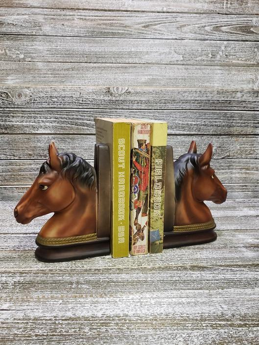 Vintage Horse Bookends Horseshoe