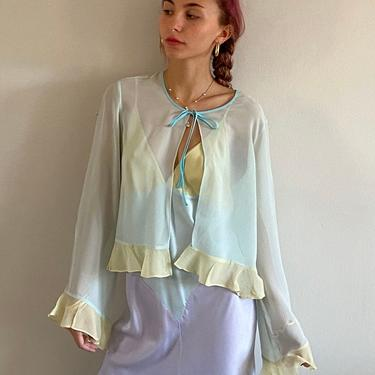 90s sheer silk chiffon blouse / vintage baby blue pastel silk chiffon ruffled bell sleeve tie neck open front sheer blouse bed jacket   M by RecapVintageStudio