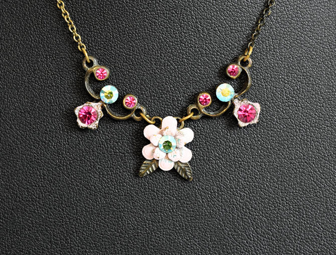 Vintage Michal Negrin brass enamel rhinestone floral bib necklace, elegant dainty Victorian style Swarovksi elements bling flowers necklace by BetseysBeauties