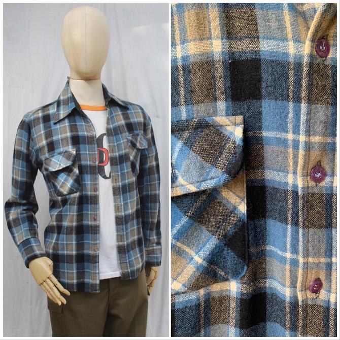 Vtg 70's  Blue Flannel / Plaid Workwear Shirt / Mens L by AmericanDrifter