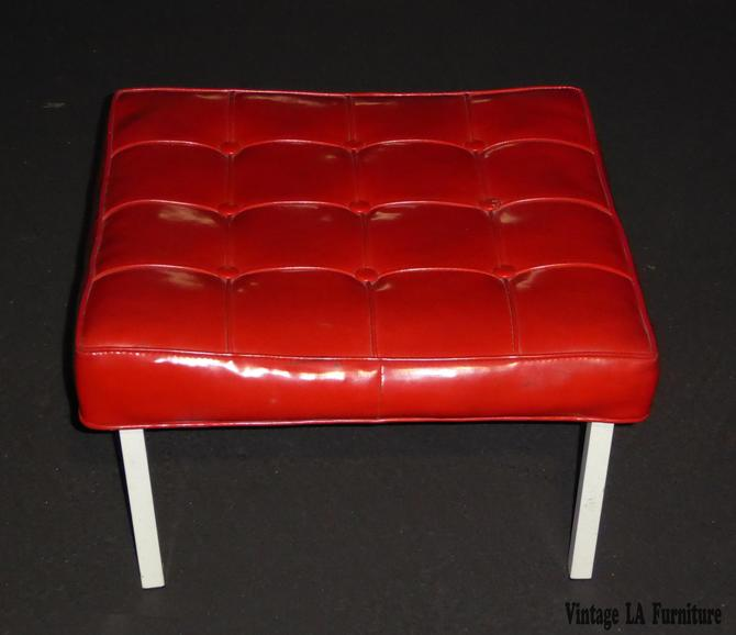 "Large 24"" Squared Mid Century Tufted Red Vinyl Bench Stool Hollywood Regency by VintageLAfurniture"