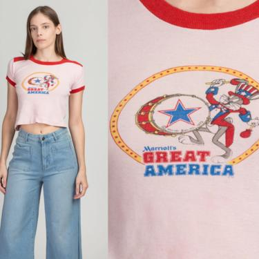 70s Marriott's Great America Bugs Bunny Cropped T Shirt - Extra Small | Vintage Pink Theme Park Tourist Ringer Tee by FlyingAppleVintage
