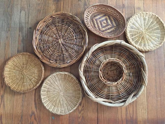 Set Of 6 Wall Hanging Baskets Basket Art Woven