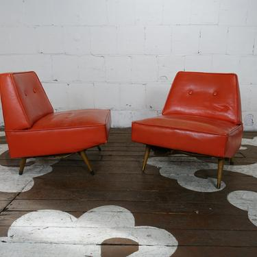 Pair angular slipper chairs - we have three for sale