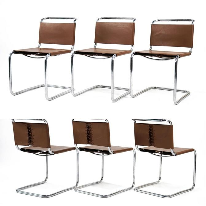 Set of 6 Vinyl and Chrome Cantilever Chairs