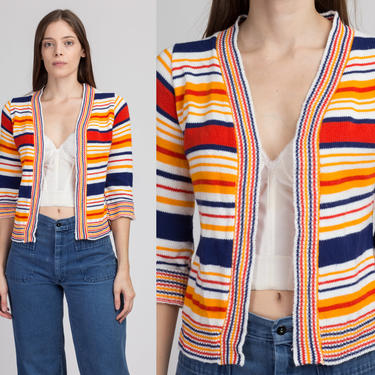 70s Retro Striped Knit Cardigan - Petite Extra Small   Vintage 3/4 Sleeve Cropped Open Sweater by FlyingAppleVintage