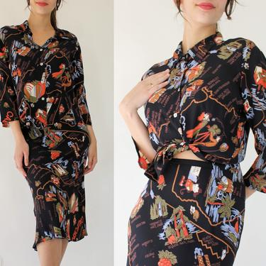 Vintage 90s Loco Lindo California Destination Print Blouse & Skirt Set   Made in California, USA   100% Rayon   1990s Designer 2-Piece Set by TheVault1969