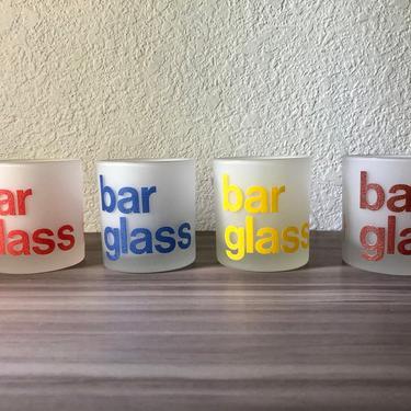 "1960's USA Morgan Barware four Low Tumbler Glasses, ""Bar Glass"" Bar Glasses by PKFlamingoVintage"