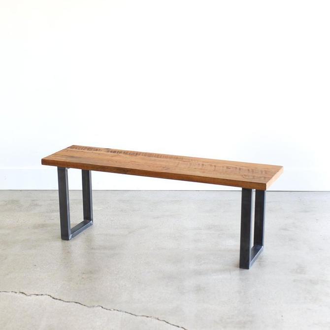 Reclaimed Wood Bench / Industrial U-Shaped Steel Legs by wwmake