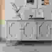 Gray Quatrefoil Credenza