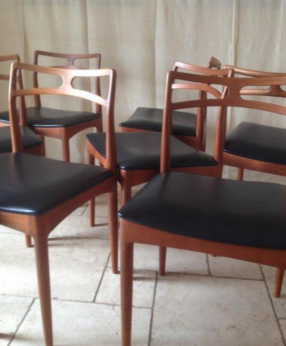 Set six (6) Danish MCM Rosewood dining chairs Johannes Andersen Model # 94