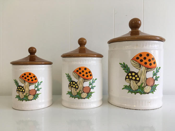 Vintage Merry Mushroom Canisters Set of Three (3) Canister Kitsch 1980s  Mid-Century Kitchen Retro Sears Roebuck & Company 1982 Made in Japan by