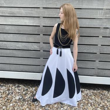1970s Black and White Half Moon Maxi Dress