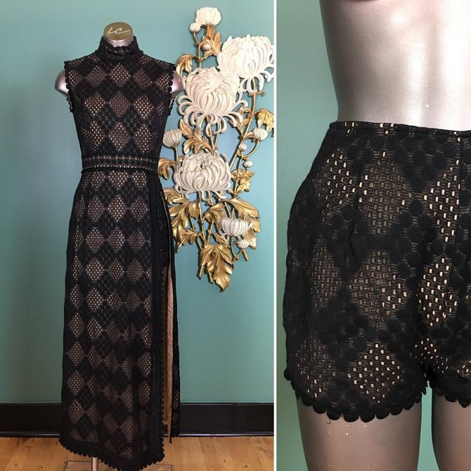 1960s maxi dress, sandine originals, vintage 60s dress, dress with shorts, 2 piece dress set, sexy black dress, nude illusion, size x small by BlackLabelVintageWA