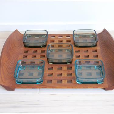 Vintage Danish Modern Dansk Teak Lattice Serving Tray and Glass Inserts JHQ by MidCentury55