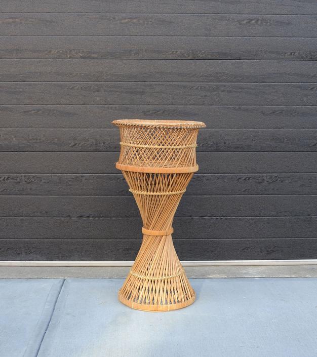 Large Wicker standing planter/plant holder by fingerlickingvintage