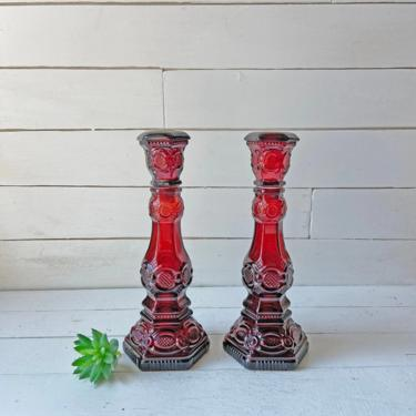 Vintage Avon Ruby Red Cape Cod Candlestick Pair // Art Deco, Gothic, Bohemian, Red Candlesticks // Romantic Dinner, Perfect Gift by CuriouslyCuratedShop