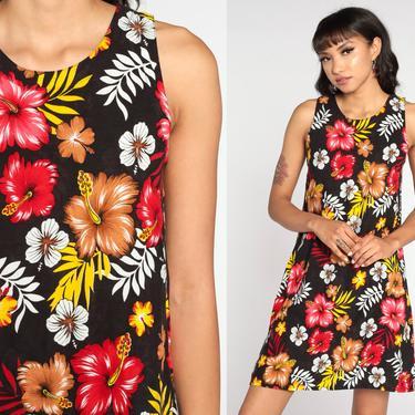 90s Floral Dress Hawaiian Tropical Mini Sundress Flower Print Summer Dress Boho 1990s Bohemian Chic Vintage Shift Sleeveless Small S by ShopExile