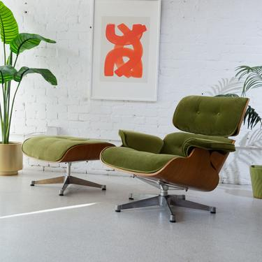 Olive Green Lounge Chair with ottoman