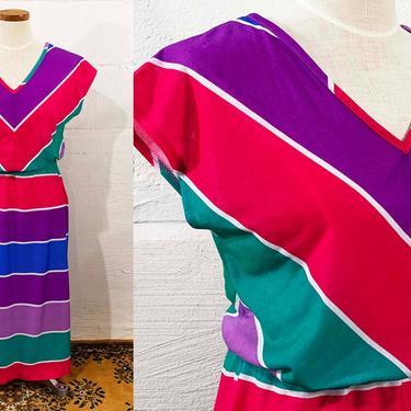 Vintage Rainbow Striped Dress 1970s Pink Purple Green 70s Cap Sleeve Jewel Tones Elastic Waist JCPenny Women's Medium Large 10 12 by CheckEngineVintage