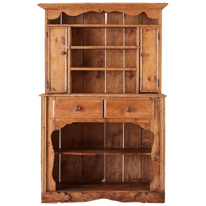 19th Century English Pine Cupboard Dresser with Rack by ErinLaneEstate