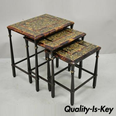 Faux Tortoise Shell Mosaic Stone Inlay Mediterranean Hooker Nesting Side Tables