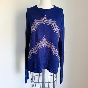 Vintage 1970s Chevron Sweater / XL by MsTips